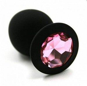 ВТУЛКА АНАЛЬНАЯ черная, цвет кристалла светло - розовый, силикон, L 95 мм, D 40 мм
