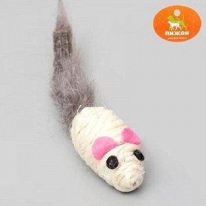 """Игрушка для кошек """"Мышь сизалевая малая"""" с меxовым xвостом, 5,5 см, микс цветов"""