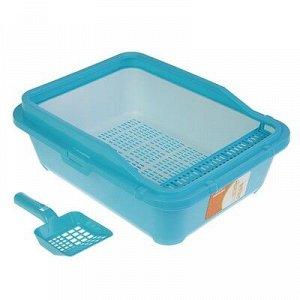 Туалет с бортом, порожком, пластиковой вставкой с сеткой и совком, 51x40x18,5 см, голубой