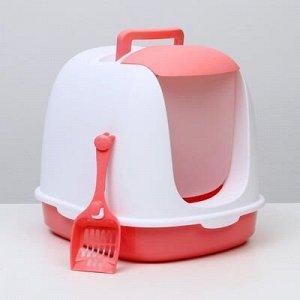 Туалет закрытый с совком, 47 x 40 x 39 см, бело-розовый