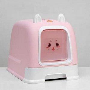 Туалет-домик с большим выдвижным поддоном, 53 x 41 x 40 см, розовый
