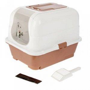 Туалет-домик с выдвижным поддоном, сеткой, совком, порожком, 51,5 x 40 x 38 см, коричневый