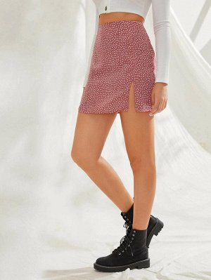 Мини юбка с далматинским принтом и разрезом