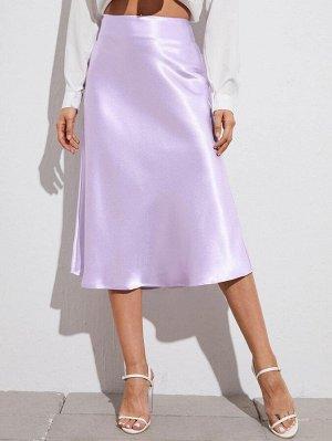 Атласная юбка с молнией