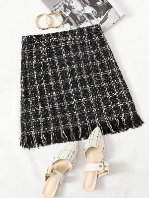 Твидовая юбка с бахромой