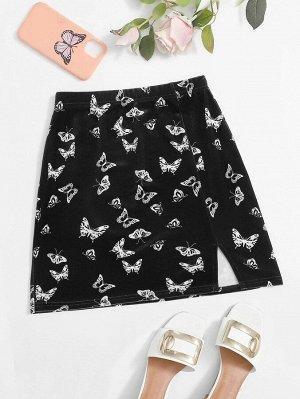 Бархатая юбка с разрезом и принтом бабочки