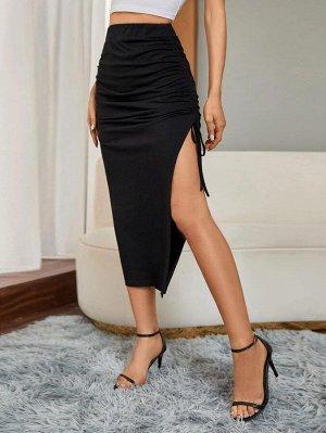 Однотонная юбка на кулиске