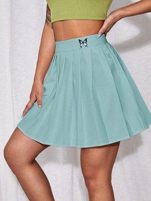Плиссированная юбка мини с принтом бабочки