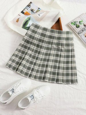 Плиссированная юбка в клетку размера плюс