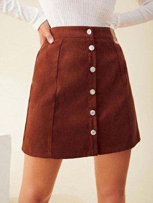 Однотонная мини юбка с пуговицами