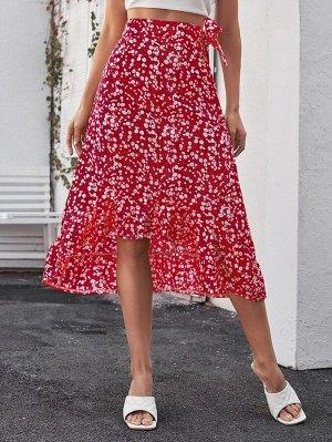 Асимметричная юбка с узлом и цветочным принтом