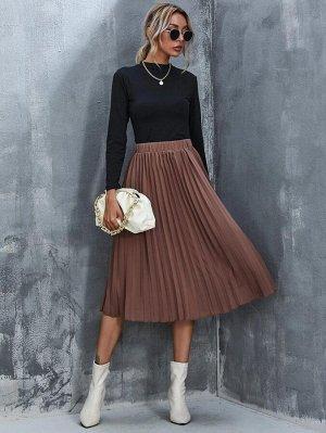 Однотонная плиссированная юбка с высокой талией