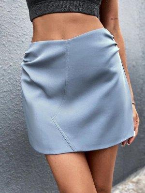 Прямая юбка мини со сборкой