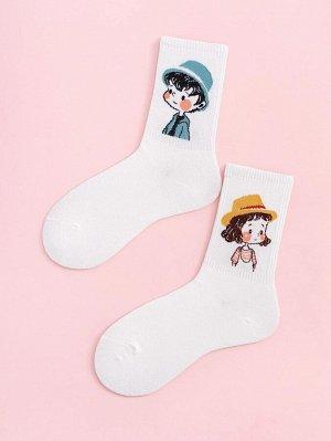 2 пары носки с мультипликационным принтом