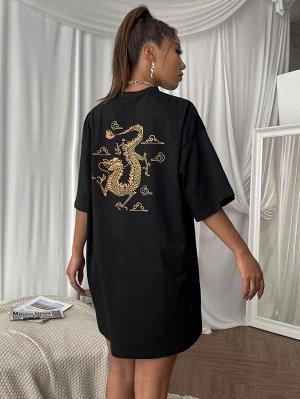 Платье-футболка с принтом китайского дракона без сумки