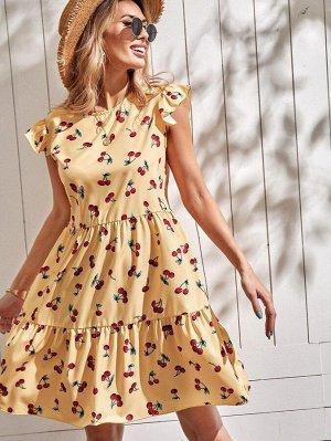 Платье с принтом 'вишня'