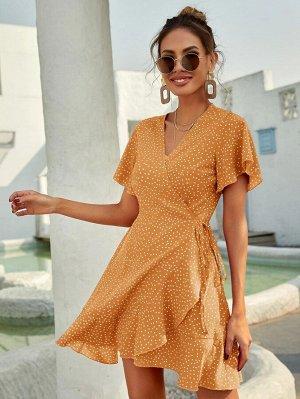 Платье в горошек с узлом