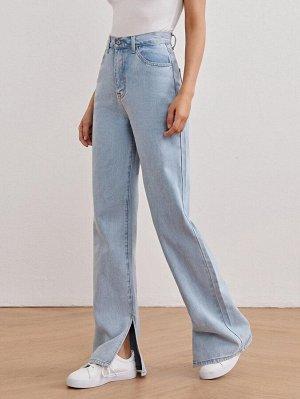 Прямые джинсы с разрезом и высокой талией