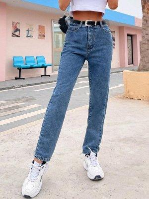 Прямые джинсы с поясом