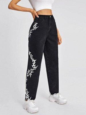 Прямые джинсы с принтом и высокой талией