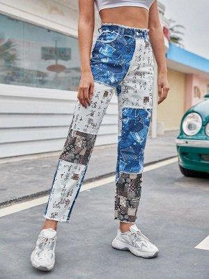 Прямые джинсы с китайским иероглифом