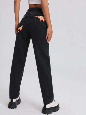 Прямые джинсы с графическим принтом и высокой талией