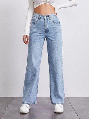 Прямые джинсы со средней талией