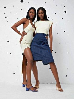 Асимметричная джинсовая юбка с пуговицами