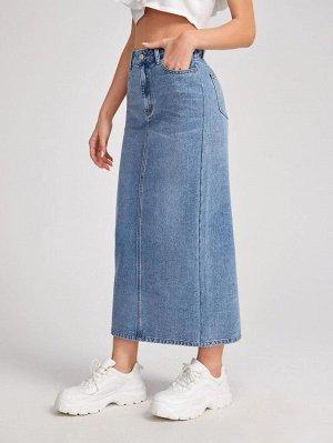 Джинсовая прямая юбка с разрезом