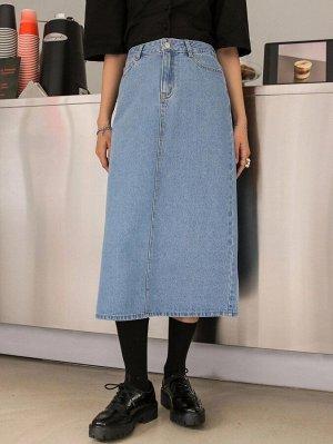 Разрез Одноцветный Джинсовые юбки