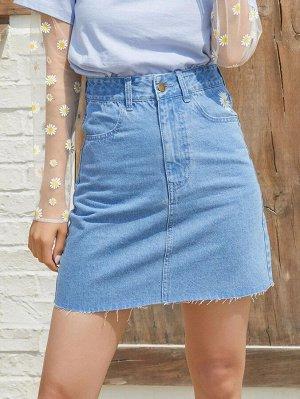 С карманами Цветочный Джинсовые юбки
