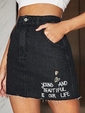 На молнии Лозунг Джинсовые юбки