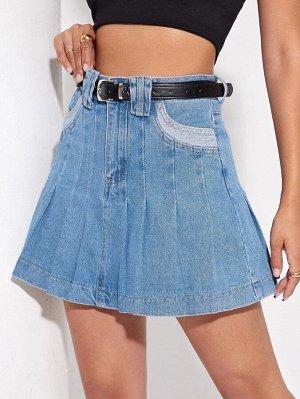 Плиссированная джинсовая юбка с высокой талией