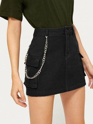 Черный с карманами Одноцветный Стиль кэжуал Джинсовые юбки