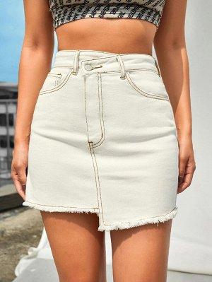 Асимметрическая джинсовая юбка с необработанным низом