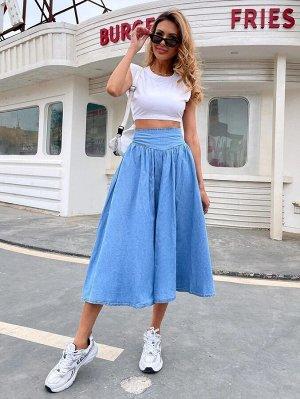 На молнии Одноцветный Джинсовые юбки