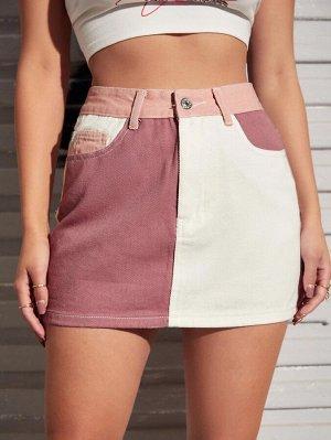 Двухцветная джинсовая юбка