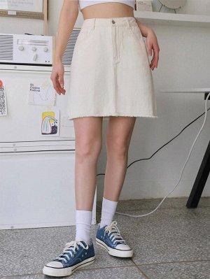 С карманами Одноцветный Джинсовые юбки