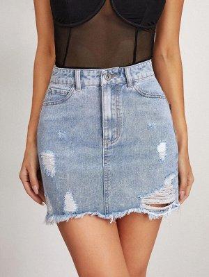 Рваная джинсовая юбка с высокой талией