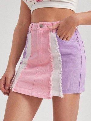 Асимметричная джинсовая юбка с высокой талией
