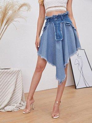 На молнии Контрастный цвет Джинсовые юбки