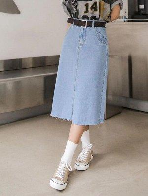 Джинсовая юбка без пояса