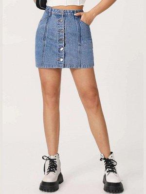 Джинсовая юбка с карманом