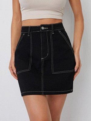 Контрастная джинсовая юбка на молнии
