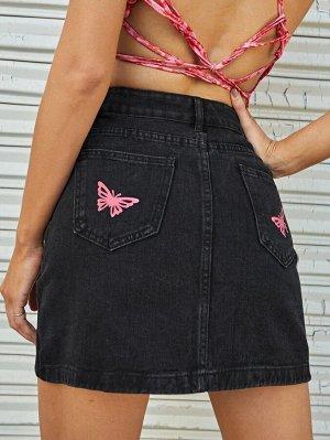Джинсовая юбка с принтом бабочки