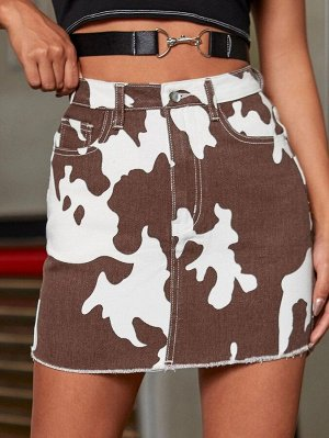 Контрастная джинсовая юбка с высокой талией