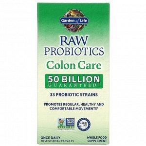 Garden of Life, Raw Probiotics, Colon Care, 30 вегетарианских капсул