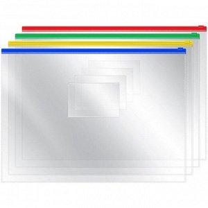 Папка-конверт на молнии, А4, 120мкм, прозрачная