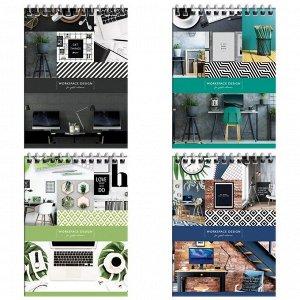 """Блокнот А6 80л. на гребне ArtSpace """"Офис. Workspace design"""", глянц. ламинация, твердая обложка"""
