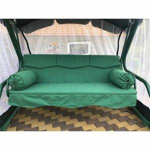 Матрас для садовых качелей Волна + валики, цвет зеленый 200х55 см